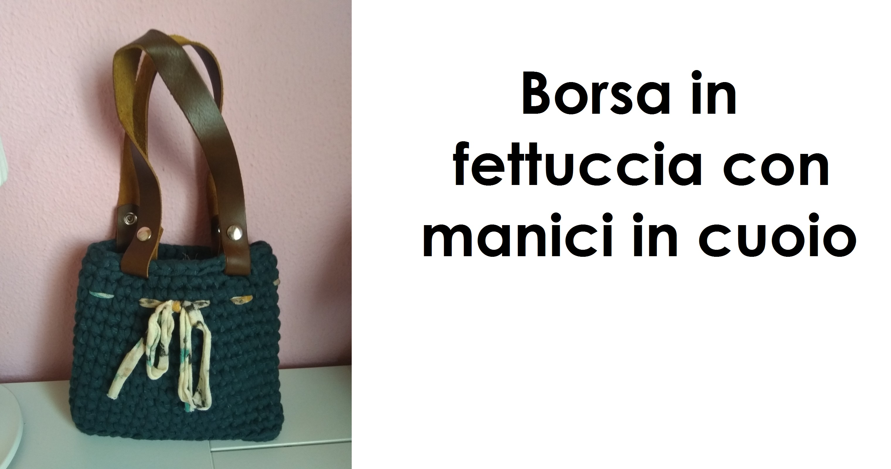 Borsa In Fettuccia Con Manici In Cuoio Le Arti Femminili
